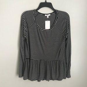 New BP. Black White Striped Babydoll Blouse